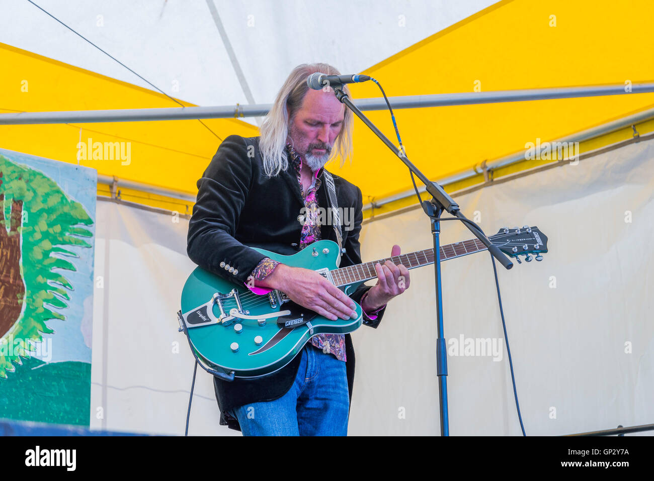 British guitarist Adrian Nation performs at Canmore Folk Music Festival, Canmore, Alberta, Canada - Stock Image
