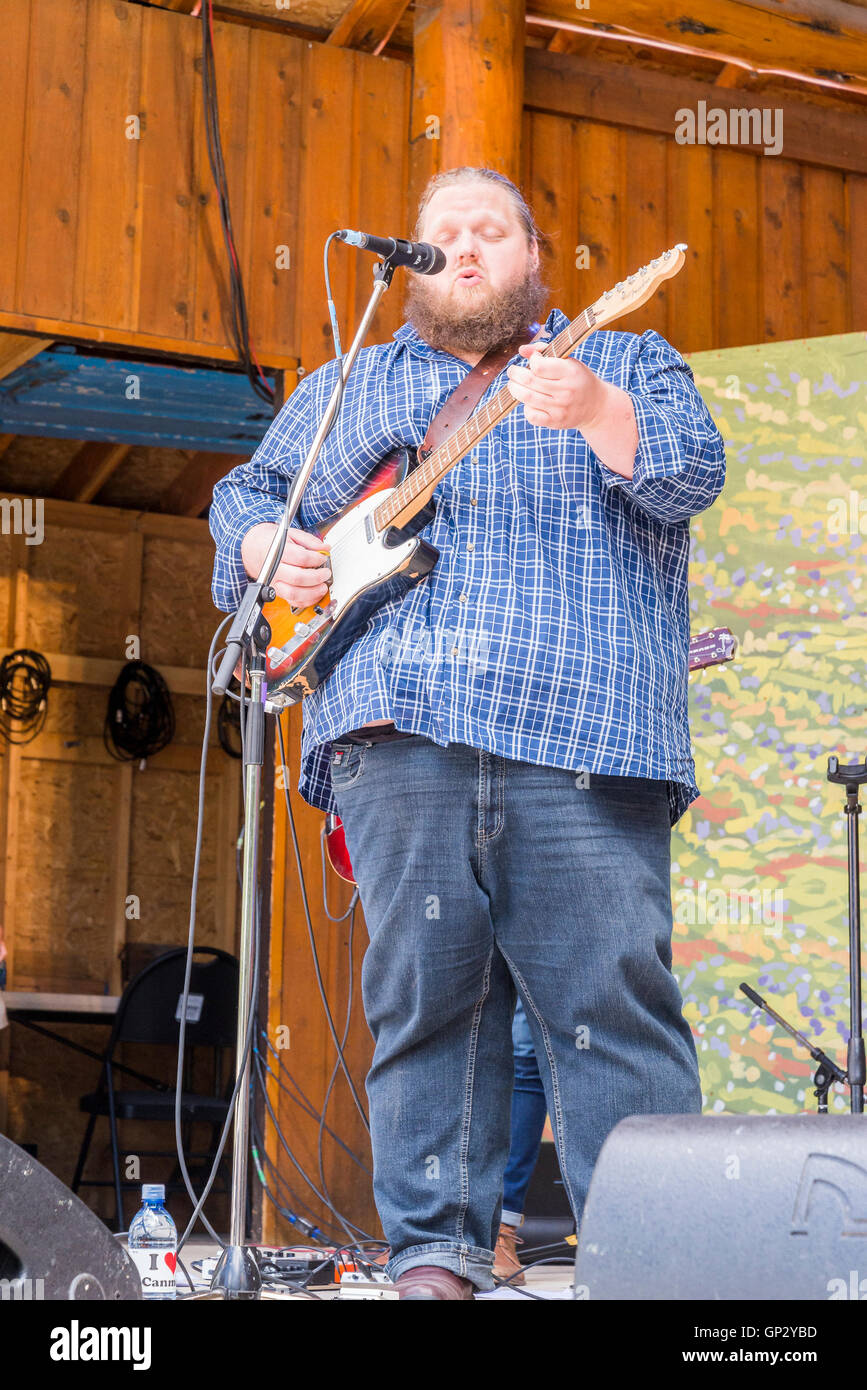 Matt Anderson performing at Canmore Folk Music Festival, Canmore, Alberta, Canada - Stock Image