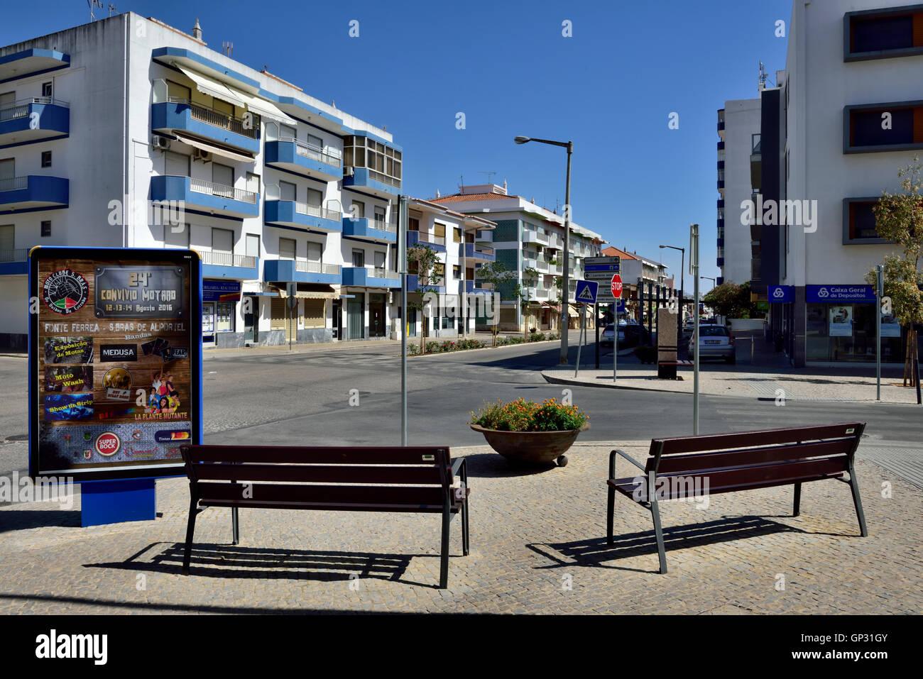 Sao Bras de Alportel main street, Algarve, south Portugal - Stock Image