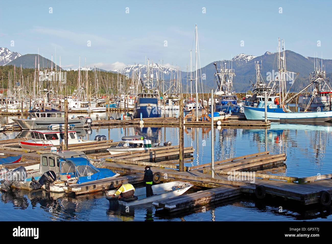 Fishing fleet Crescent Harbor marina mountains Sitka Alaska