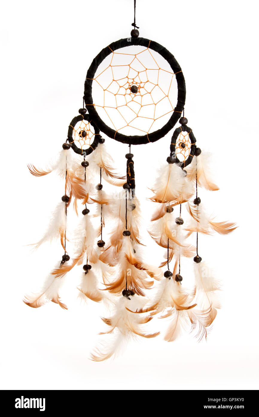 Dreamcatcher isolated on white background - Stock Image