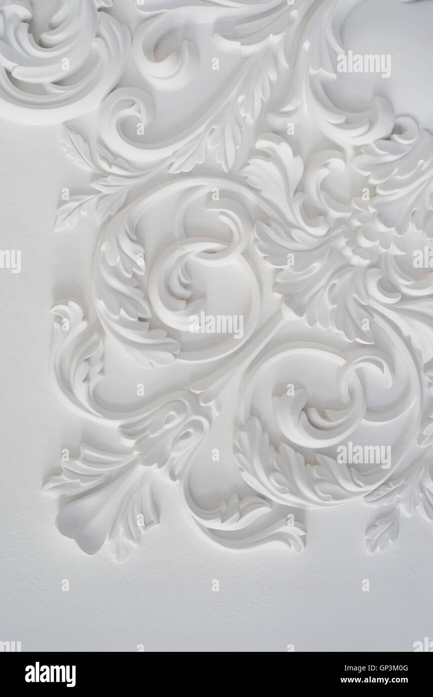 Luxury White Wall Design Bas Relief With Stucco Mouldings Roccoco Stock Photo Alamy
