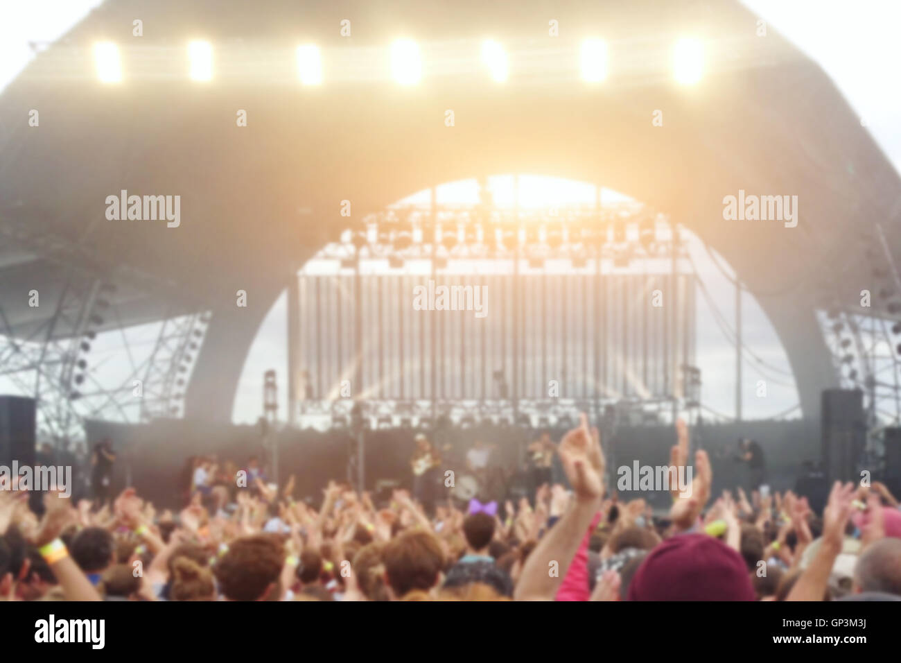 open air festival concert blurred background - Stock Image