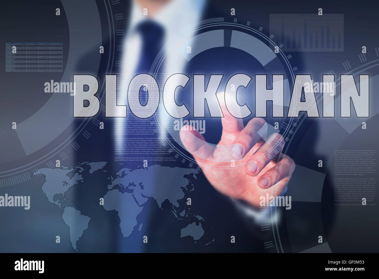 blockchain concept, business man pressing button on high tech screen - Stock Image
