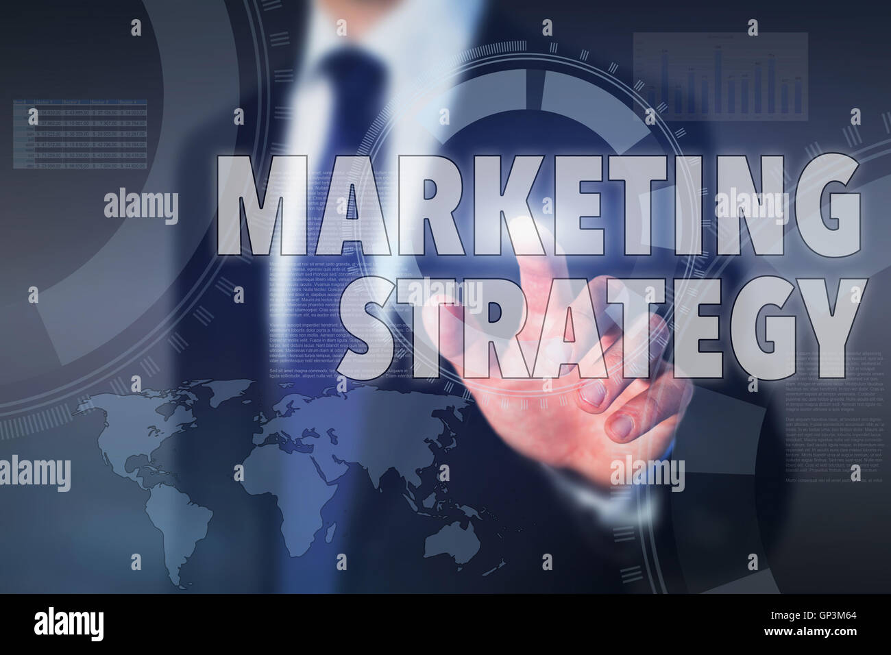 marketing strategy, concept on touch screen - Stock Image