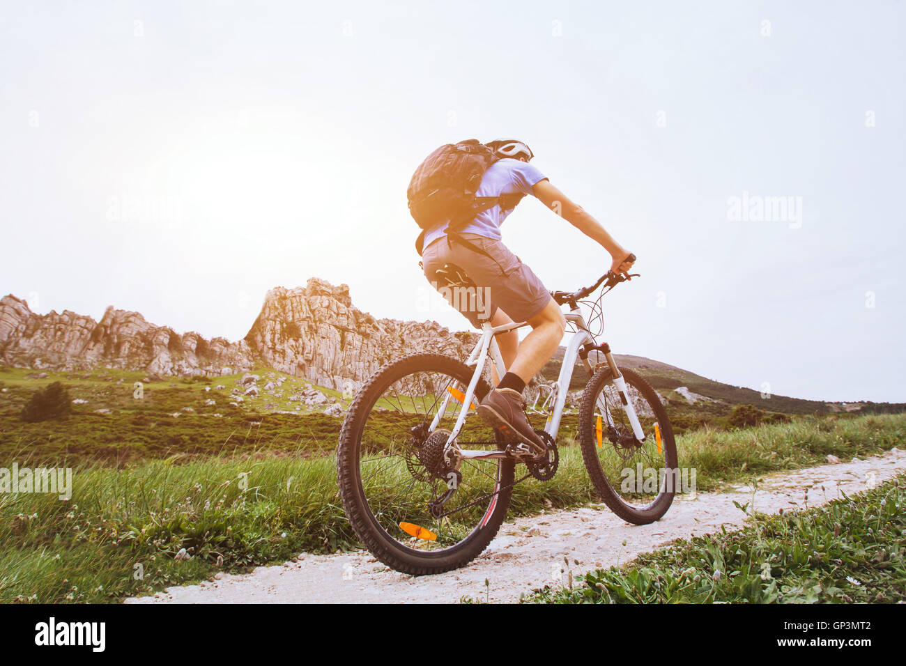 mountain bike, cycling outside, extreme sports - Stock Image