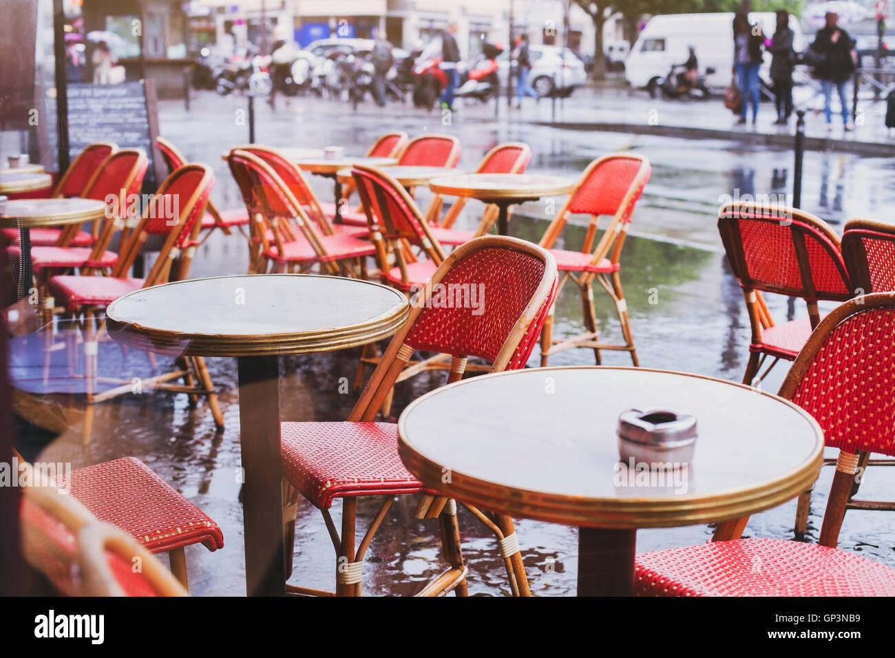 Paris Cafe Tables And Rain Stock Photos Paris Cafe Tables And Rain - Paris cafe table