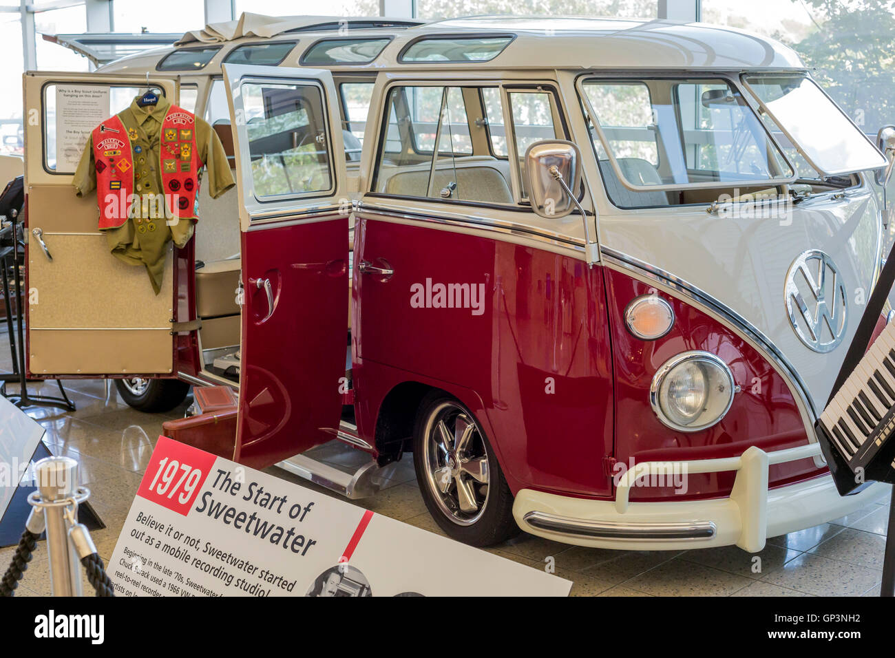 Fort Wayne, Indiana - A display at the Sweetwater Music Instruments store shows the VW microbus that began as a - Stock Image