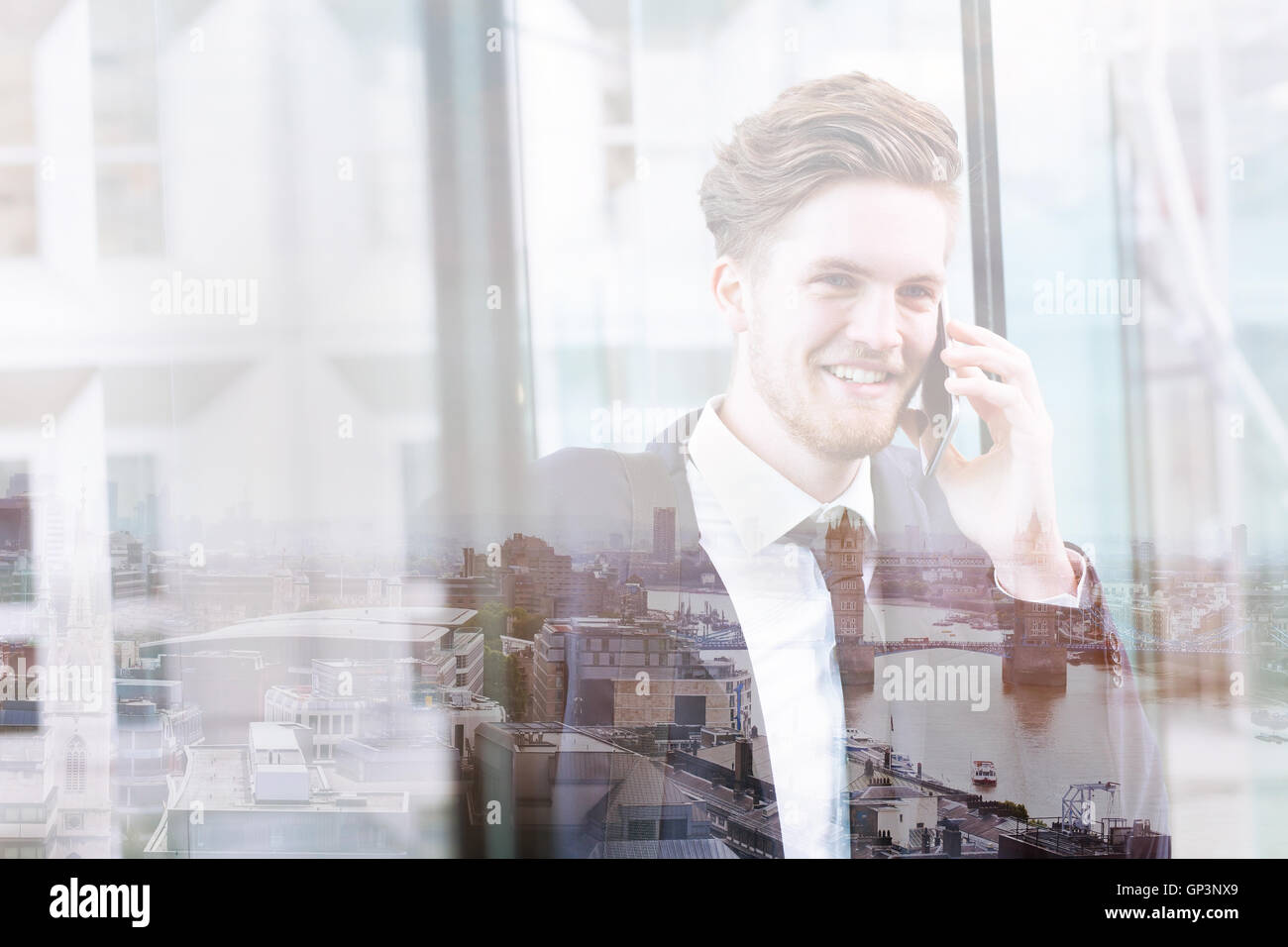 double exposure of business man talking by phone and London skyline panoramic view, cityscape - Stock Image