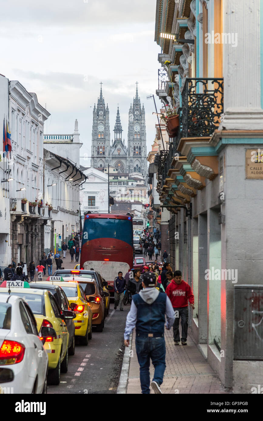 Busy street of the historic old city Quito, Ecuador. - Stock Image
