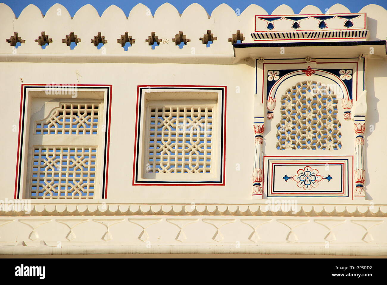 View of windows with geometrically shaped cut-outs on wall of Junagarh Fort, Bikaner, Rajasthan, India, Asia - Stock Image