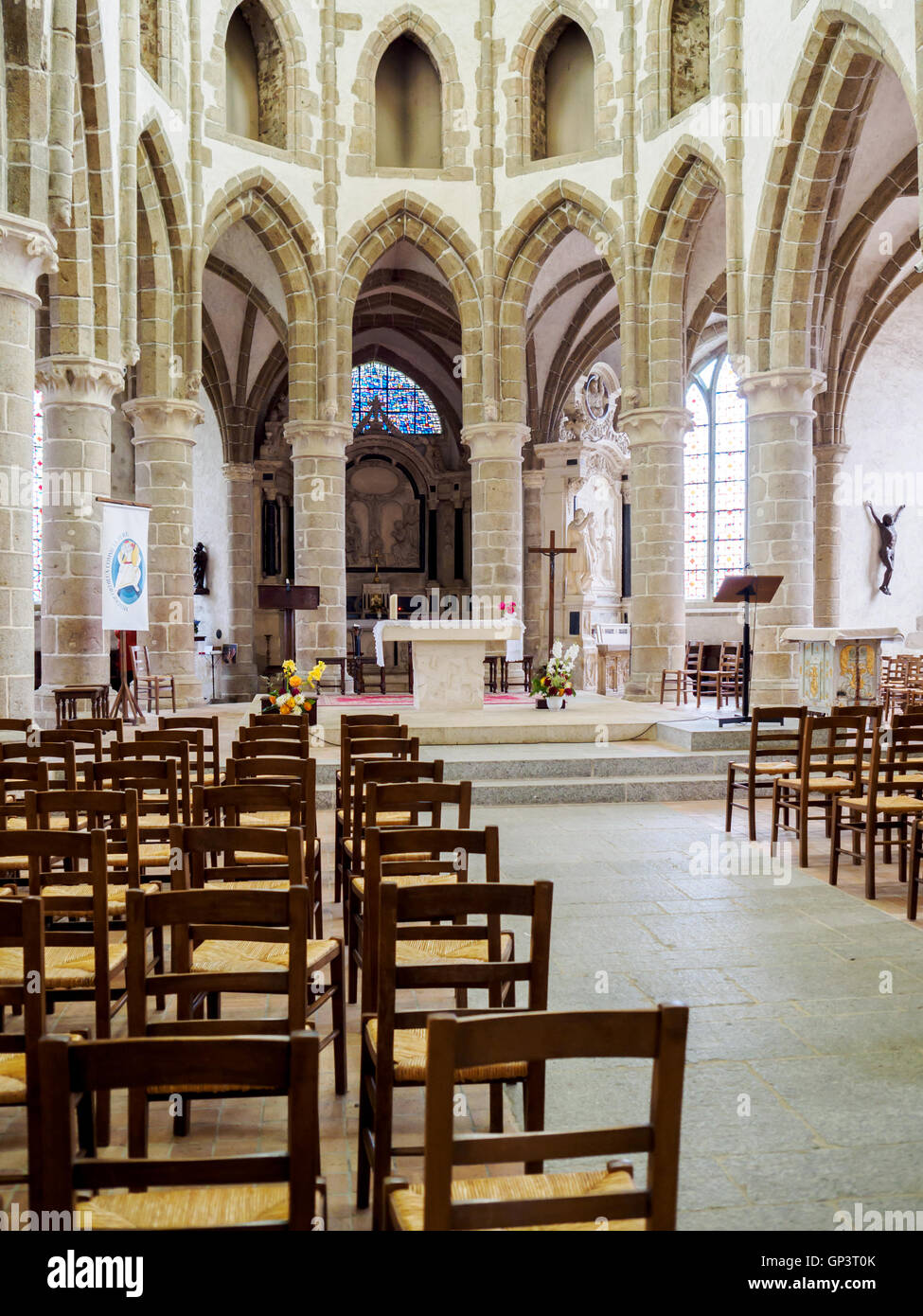 Interior of Abbaye de Lonlay in Lonlay-l'Abbaye, near Domfront, Normandy France, a medieval monastic church. - Stock Image