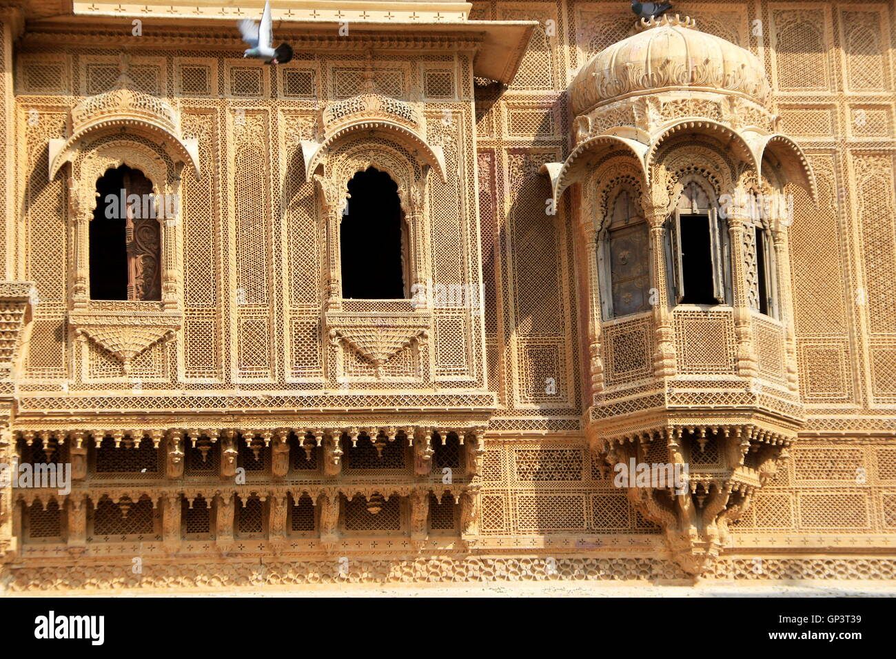 Twin rectangular and single domed balconies of Patawon-ki-Haweli at Jaisalmer Fort in Jaisalmer, Rajasthan, India, - Stock Image