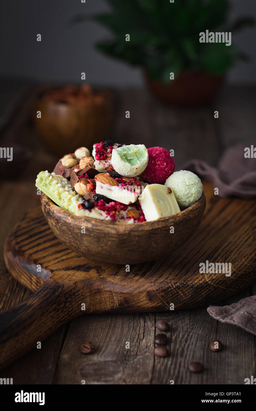 Candies, chocolates, turkish delight in a bowl. Selective focus - Stock Image