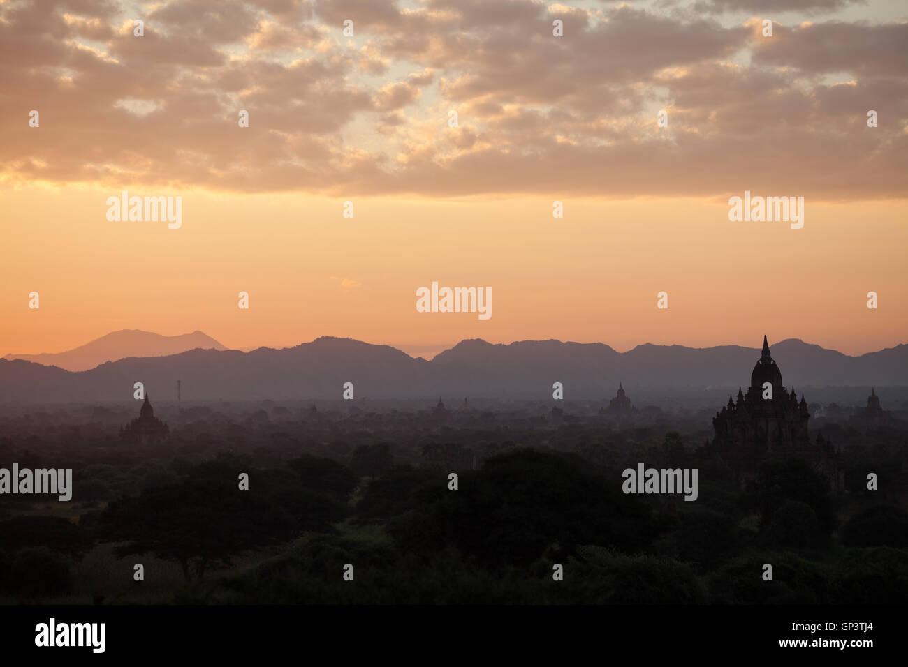 Dawn at Bagan, Myanmar Stock Photo