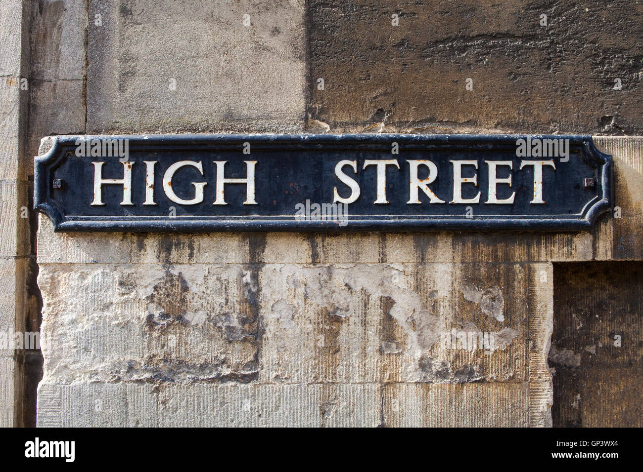 Street sign for the High Street in the historic city of Oxford, England. - Stock Image