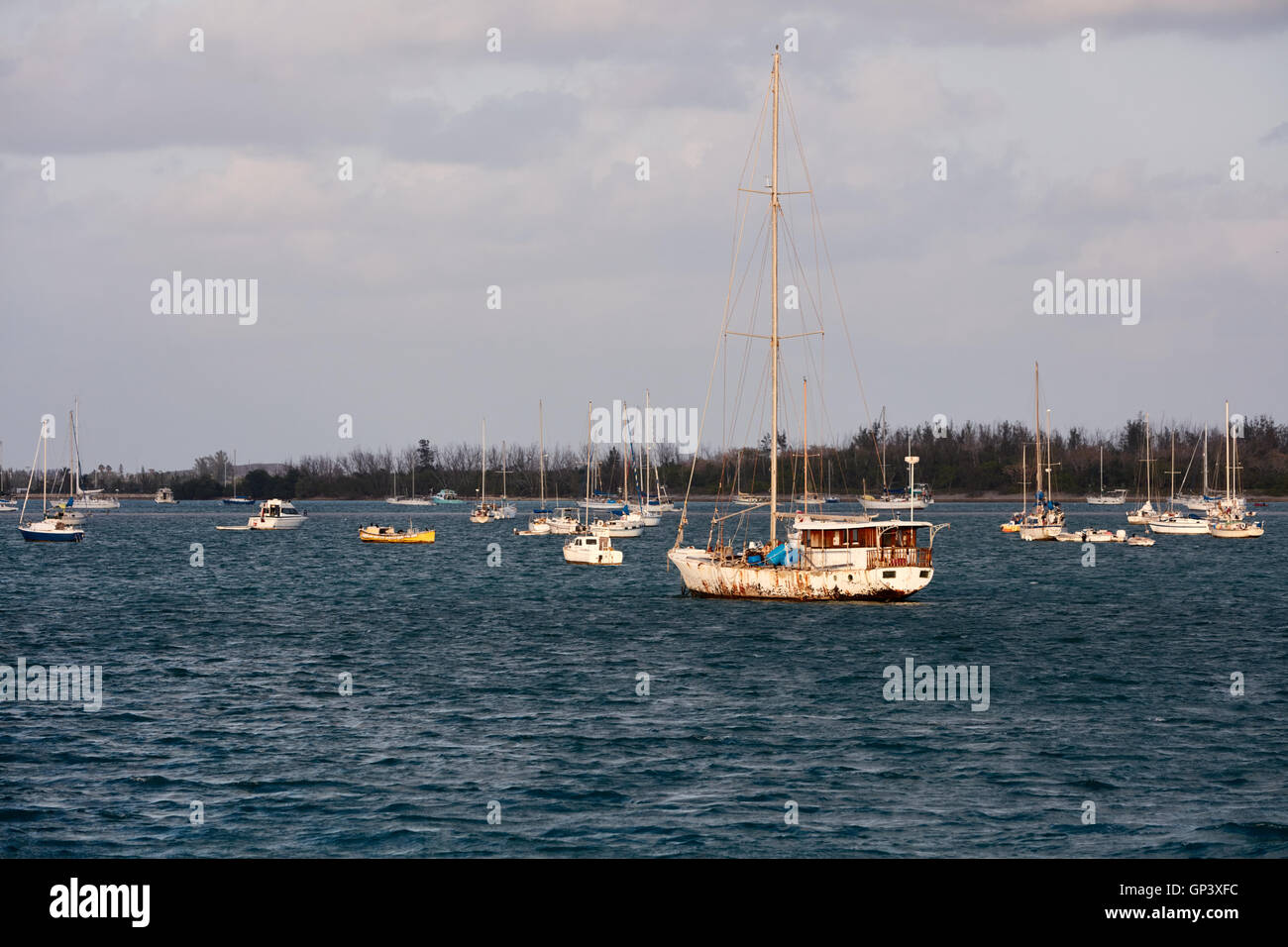 Sailboats anchored in the mooring field in Key West, Florida - Stock Image