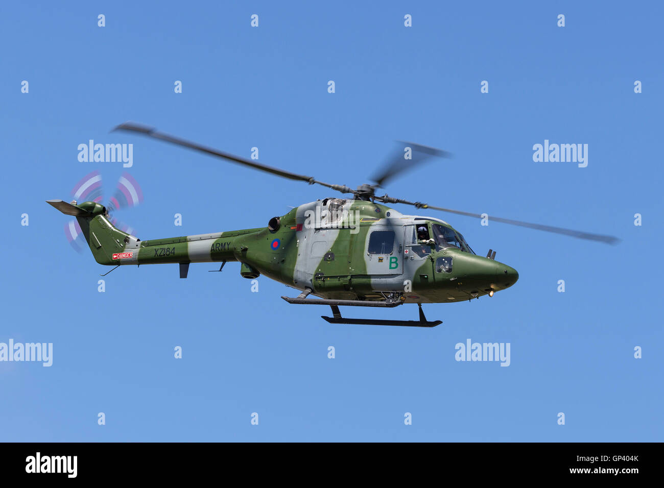 British Army Air Corps Westland WG-13 Lynx AH7 military helicopter - Stock Image