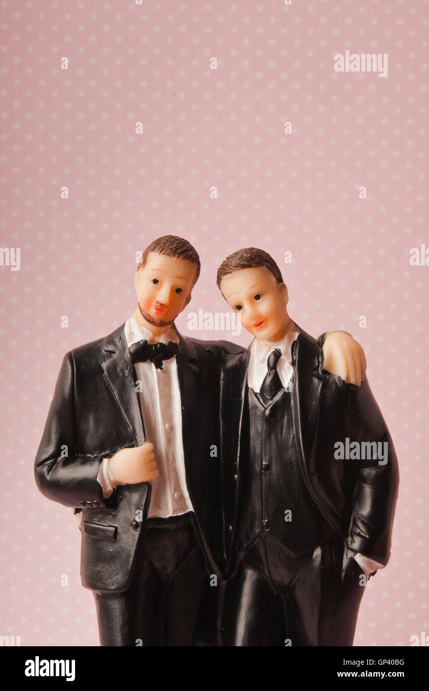 gay marriage concept - cake topper - Stock Image