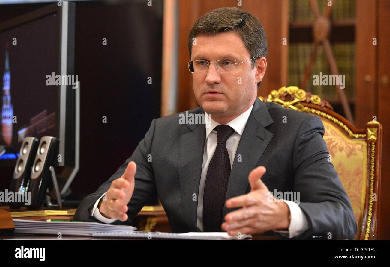 Russian Energy Minister Alexander Novak during a meeting with President Vladimir Putin in the Kremlin July 25, 2016 - Stock Image