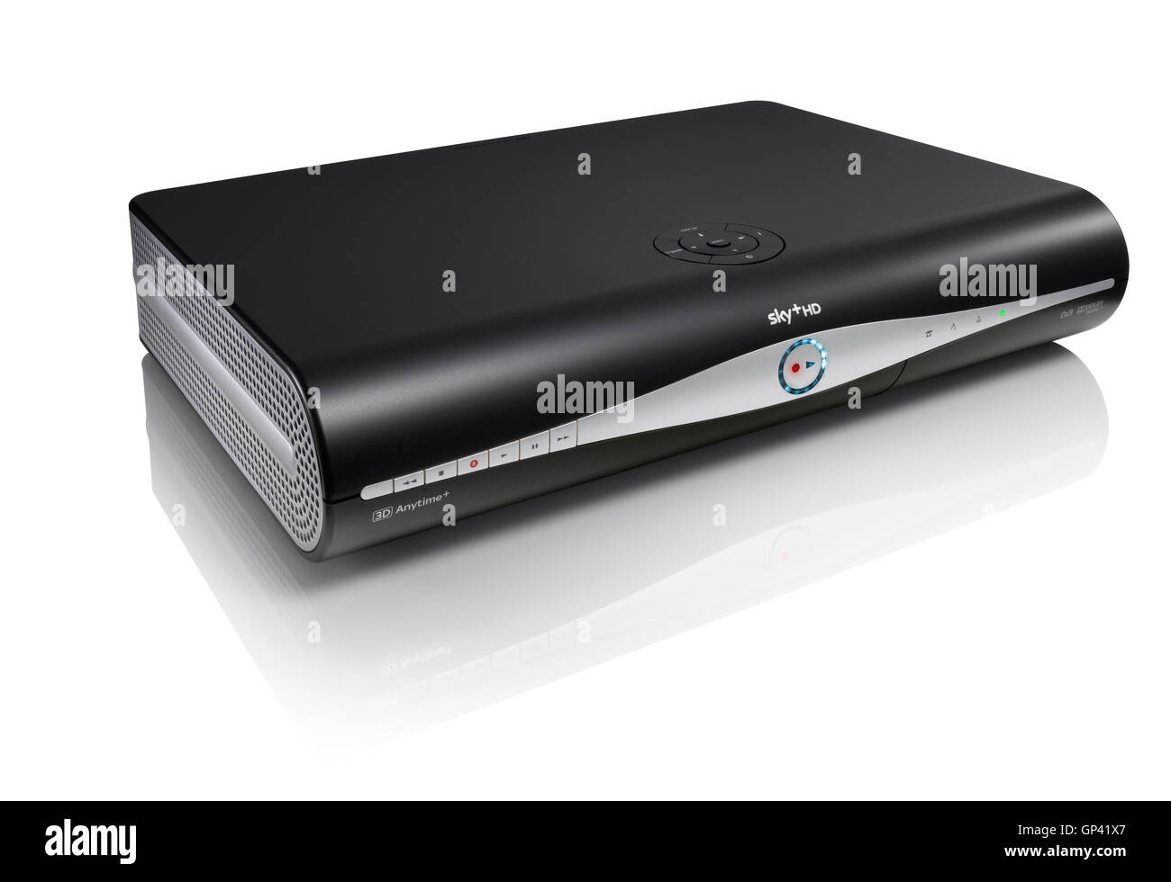 A Sky HD box shot on a white background with subtle reflection. - Stock Image