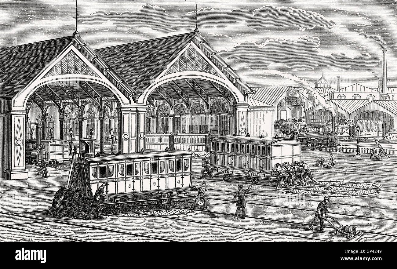 Turntable of a tram, 19th century Stock Photo