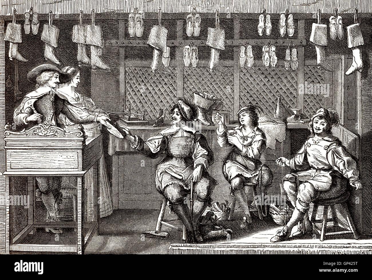 Shoe store, 17th century - Stock Image
