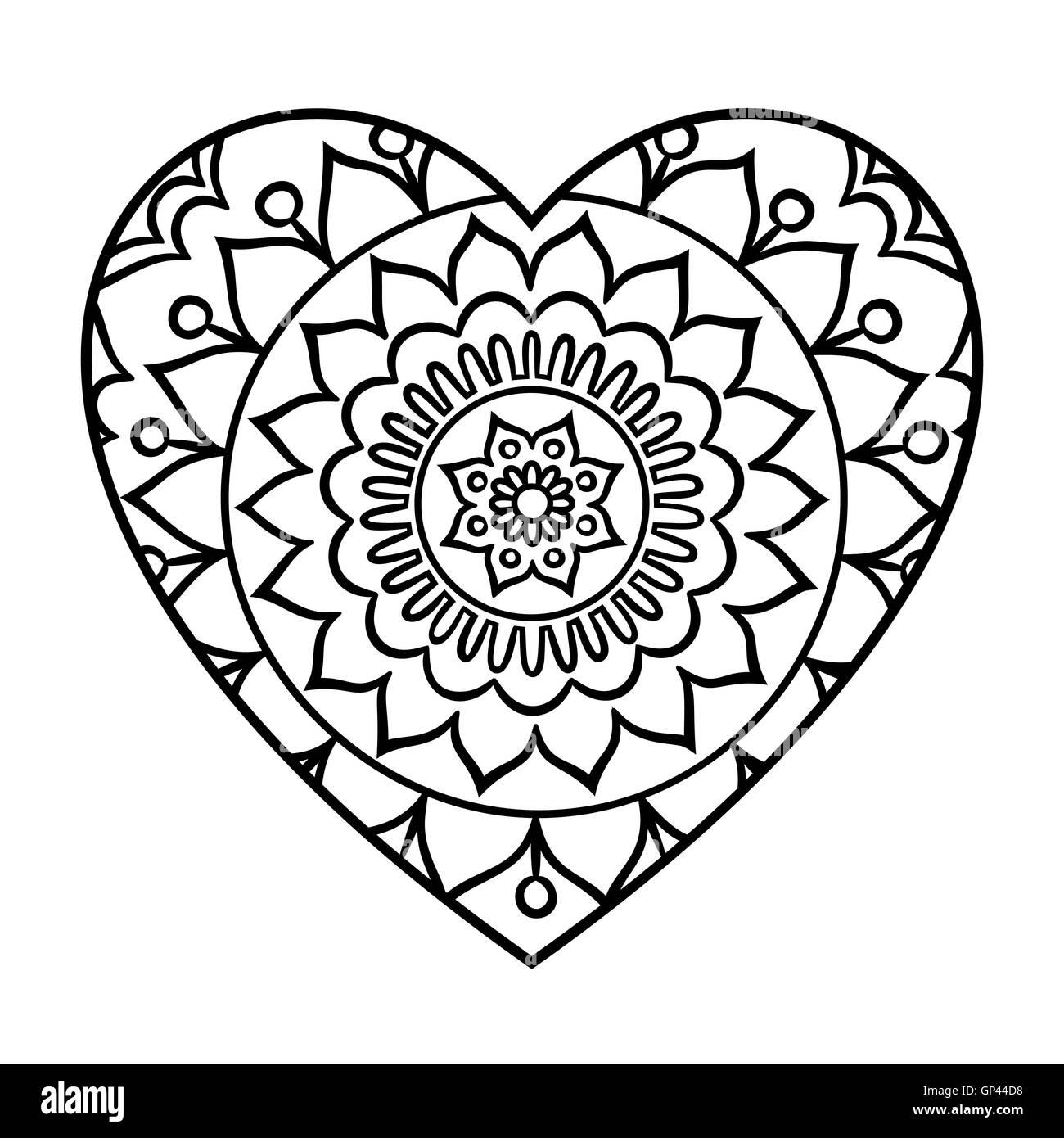 doodle heart mandala stock photos doodle heart mandala stock