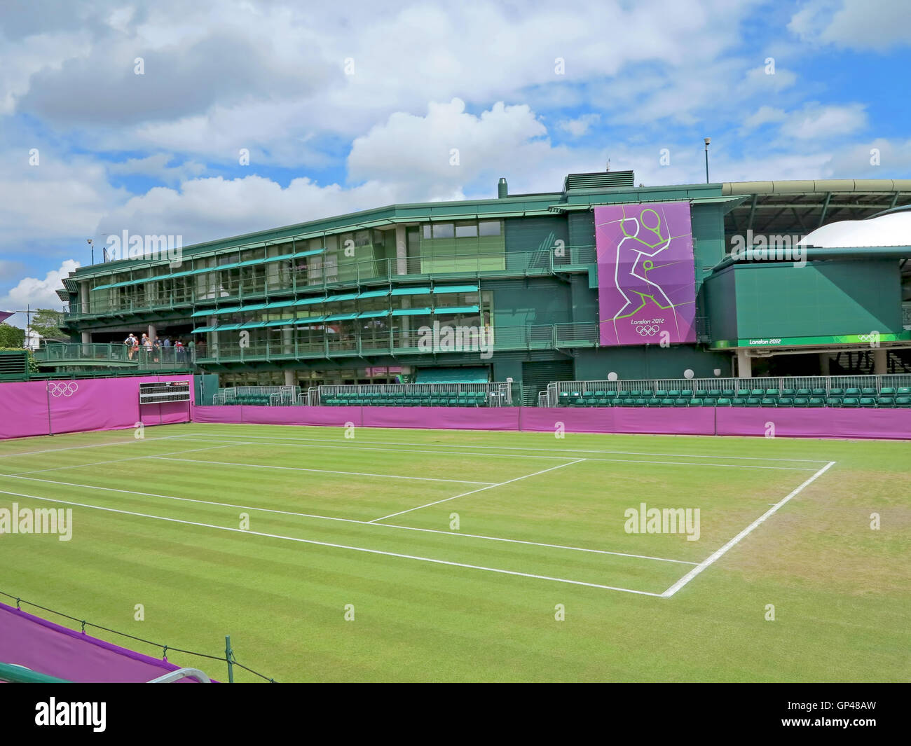Wimbledon, UK. August 2nd, 2012. One of the tennis courts at Wimbledon during the summer Olympics in London in 2012. - Stock Image