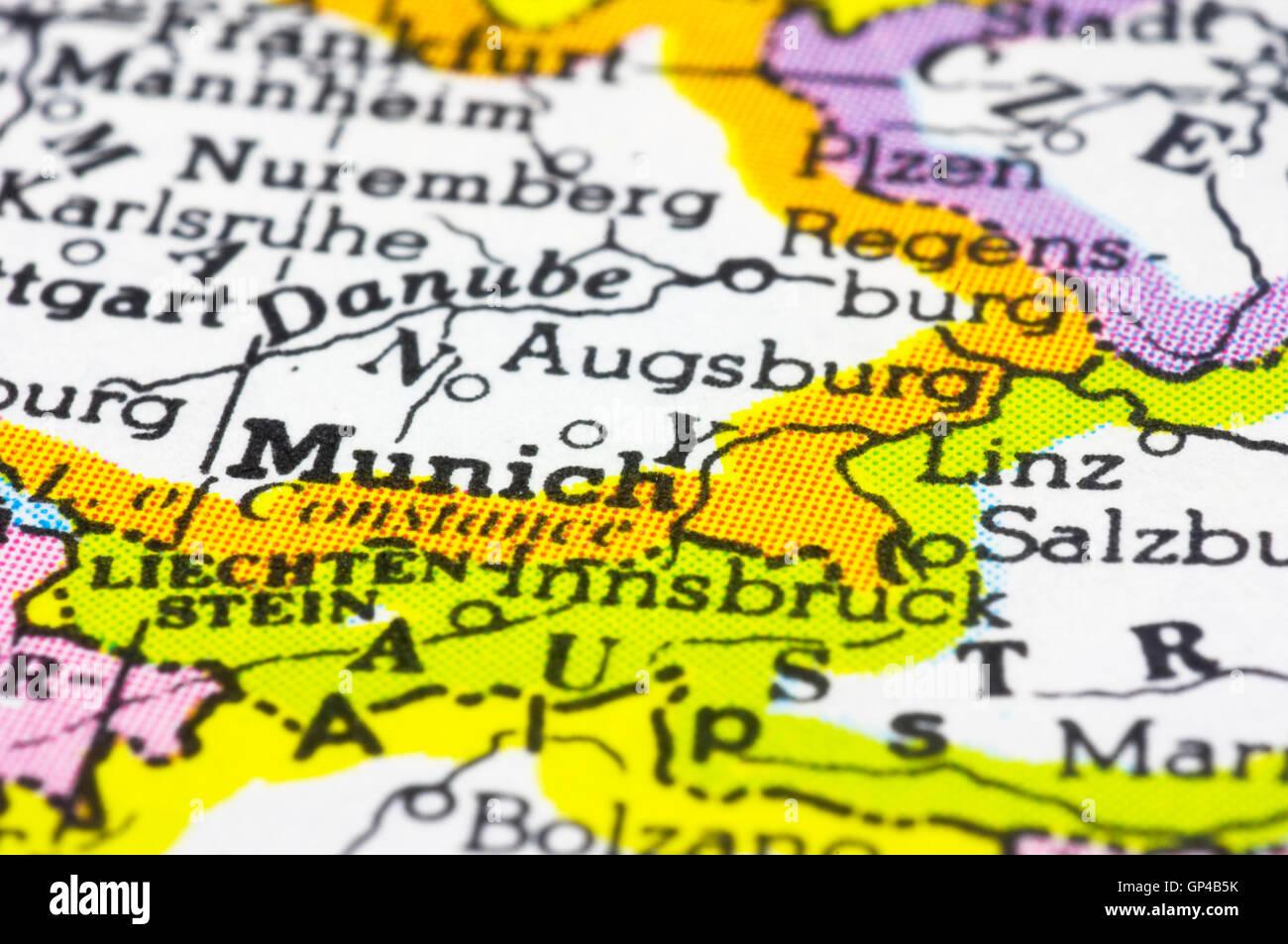 close up of Munich on map Germany Stock Photo 116881231 Alamy