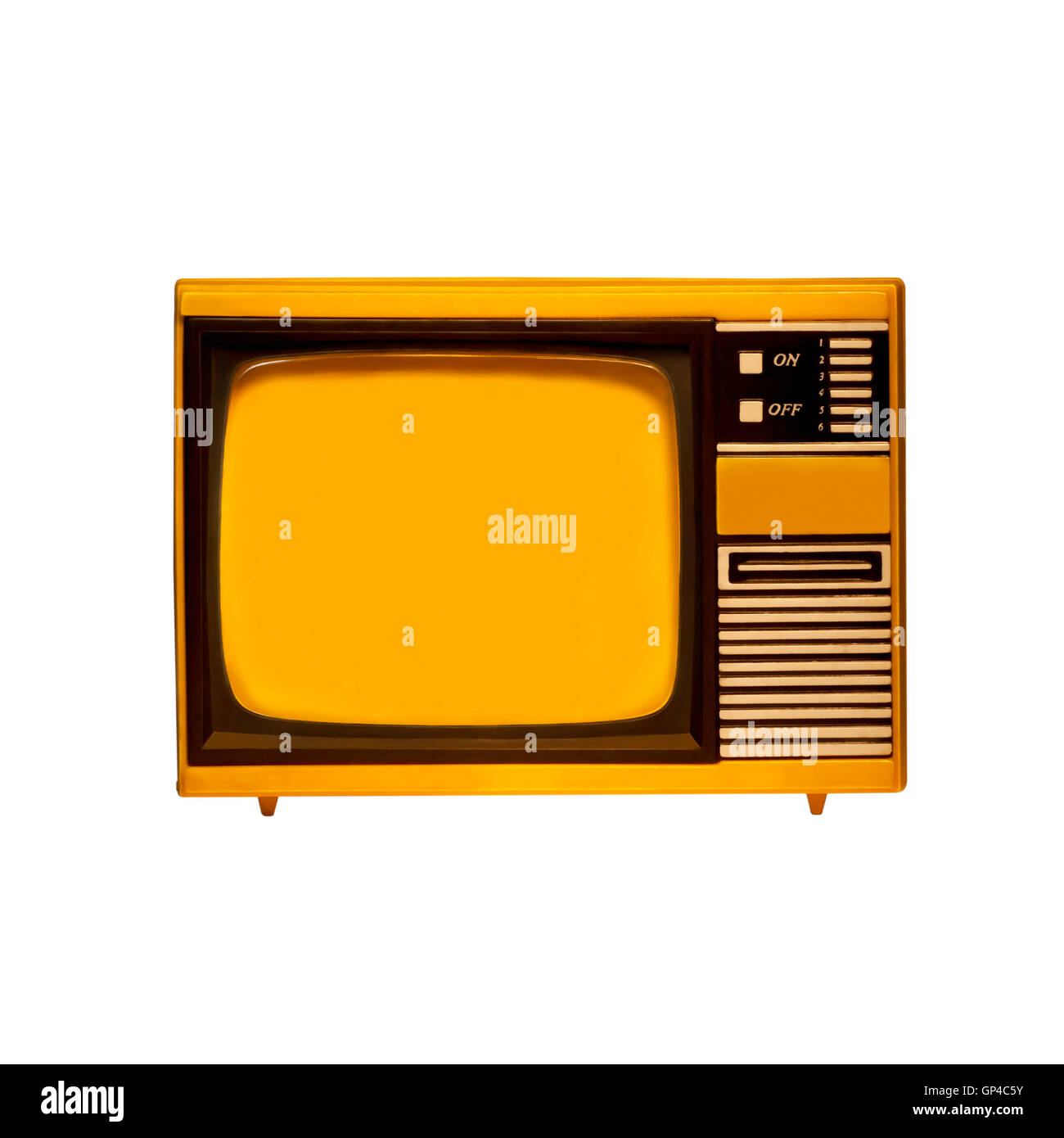 old frame television with isolated - Stock Image