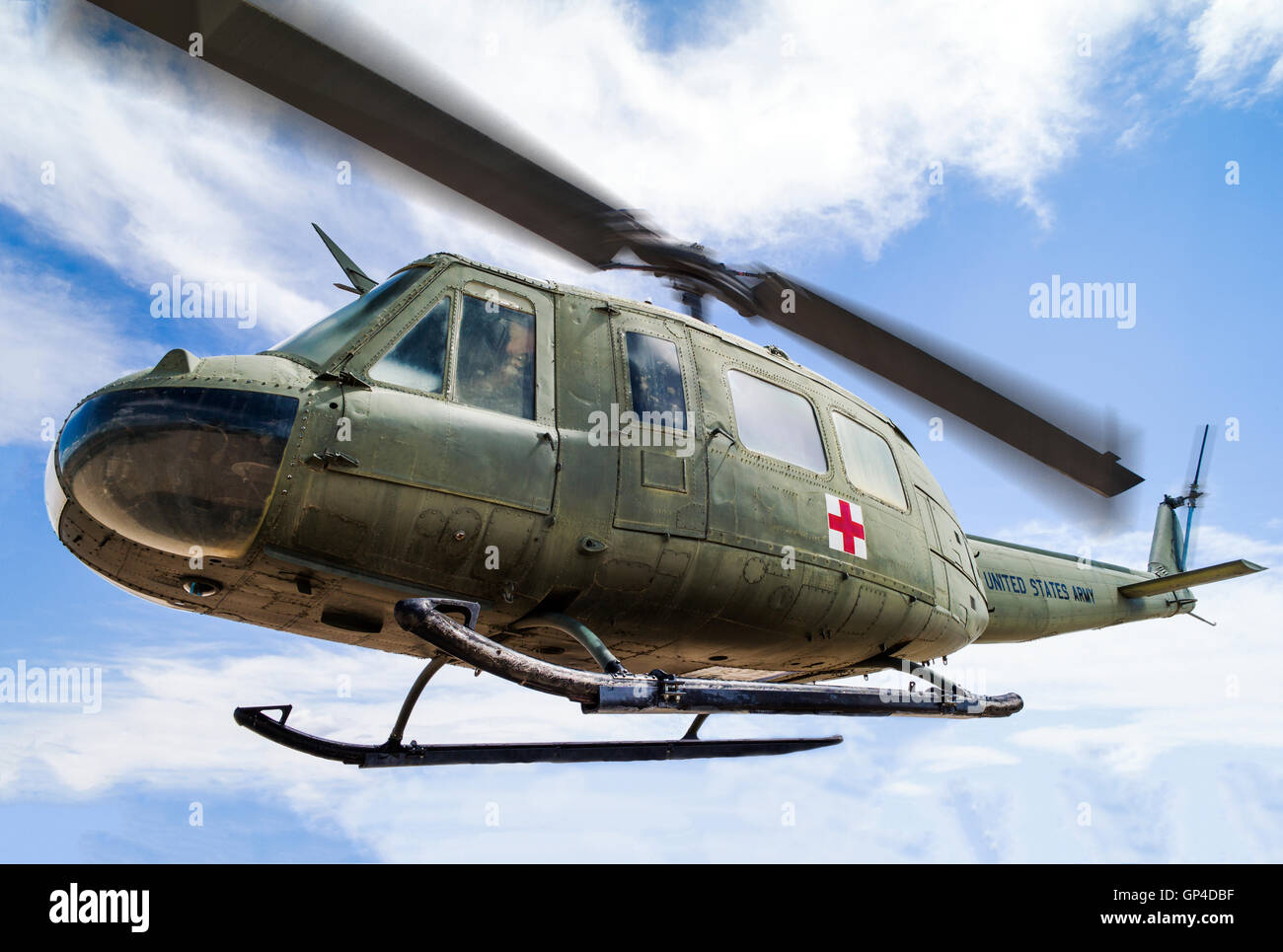UH-1; Iroquois; Huey; military helicopter; Fremont County Airport; Penrose; Colorado; USA - Stock Image
