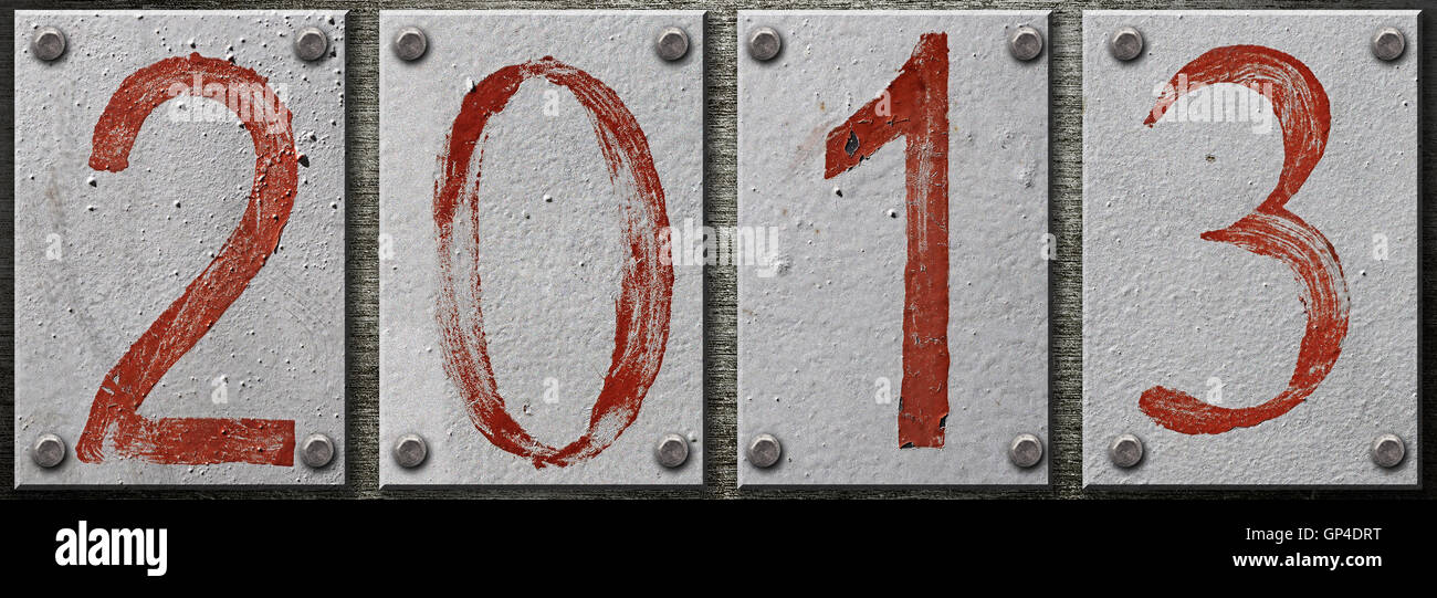 2013 number on metal background - Stock Image