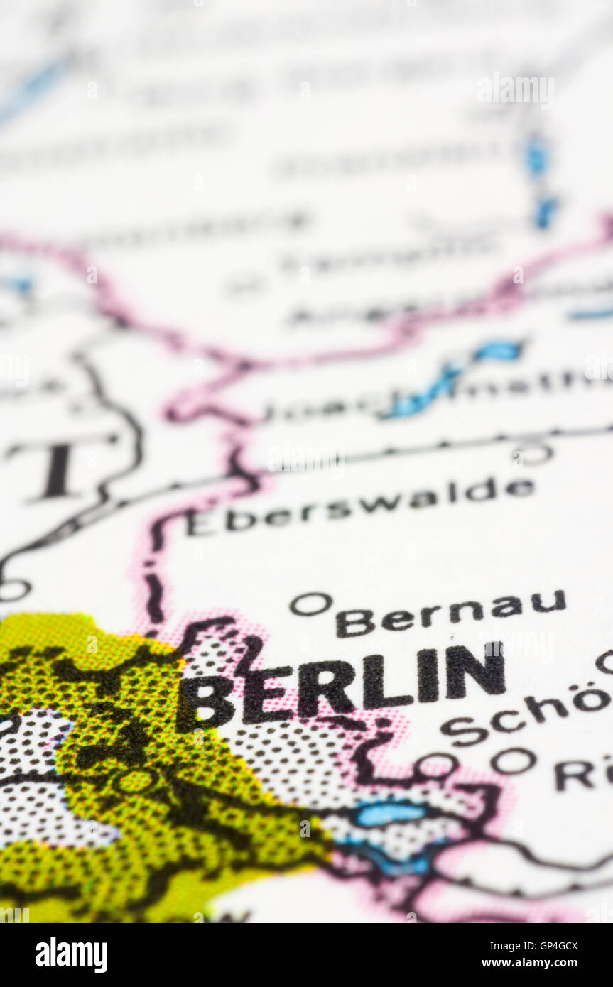 Berlin On Map Of Germany.Close Up Of Berlin On Map Germany Stock Photo 116885354 Alamy