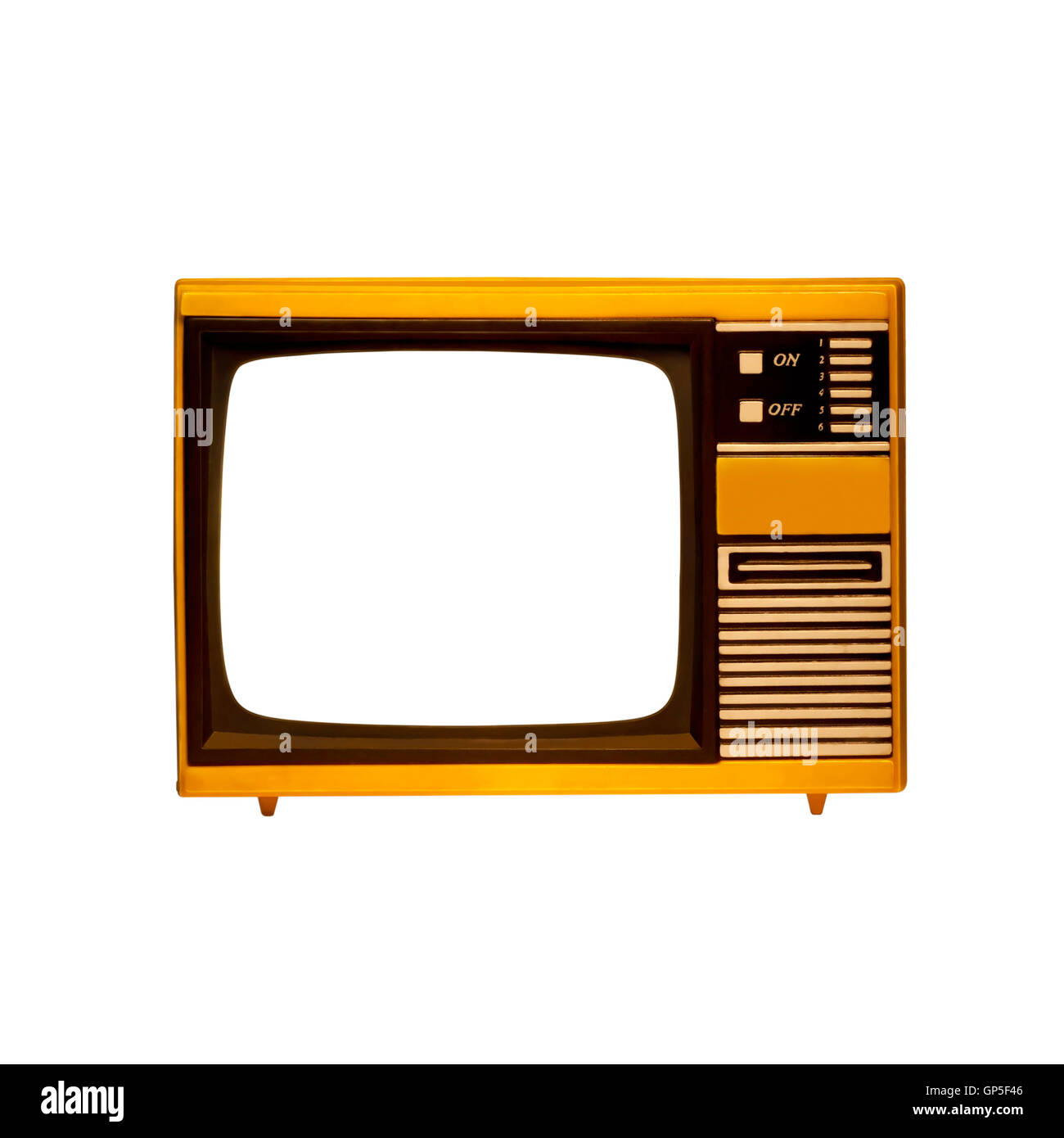 old frame television with isolated screen - Stock Image