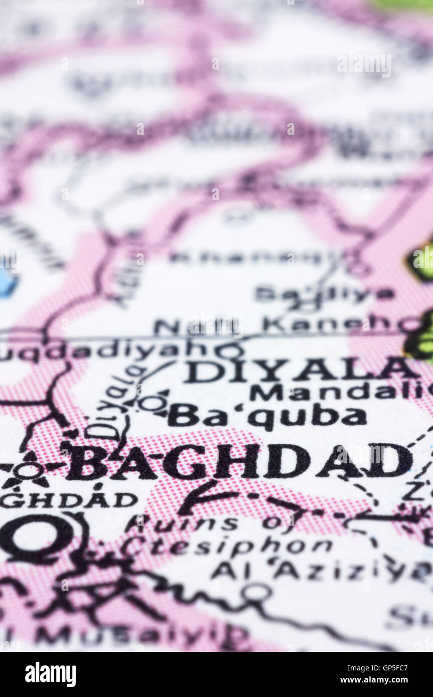 close up of baghdad on map iraq