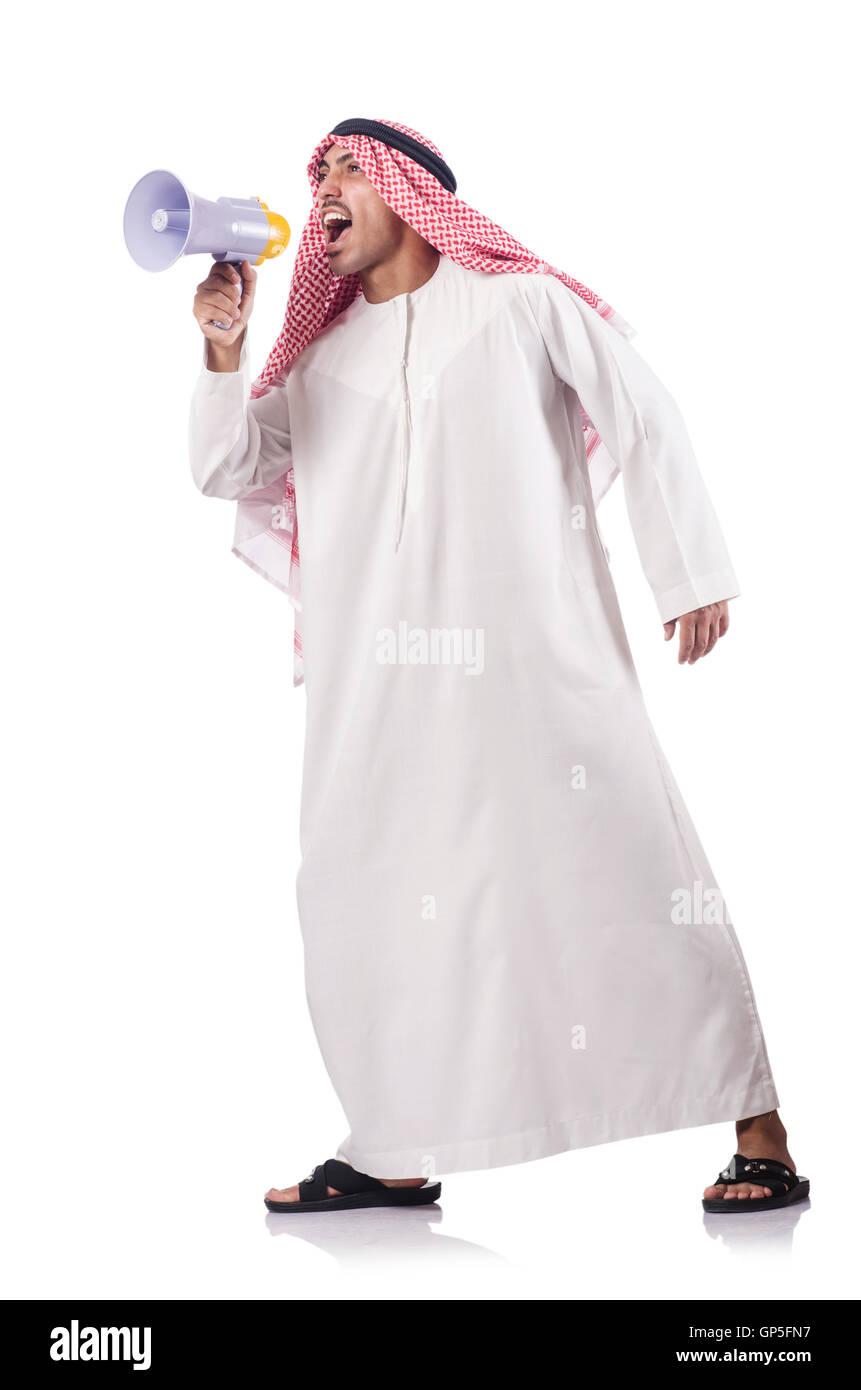 Arab yelling with loudspeaker - Stock Image
