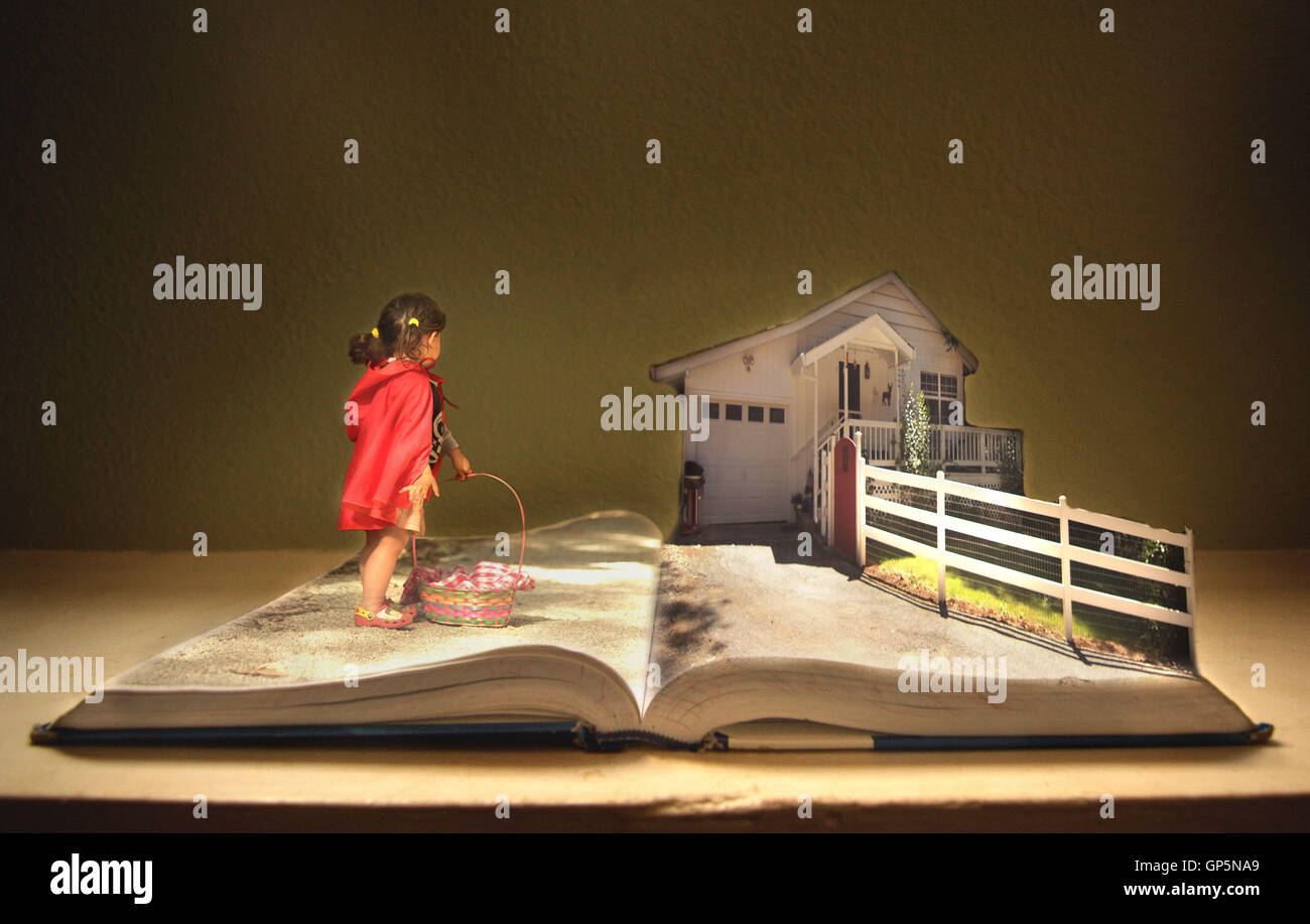 Little Red Riding Hood, Story Book, Grandma's House, - Stock Image