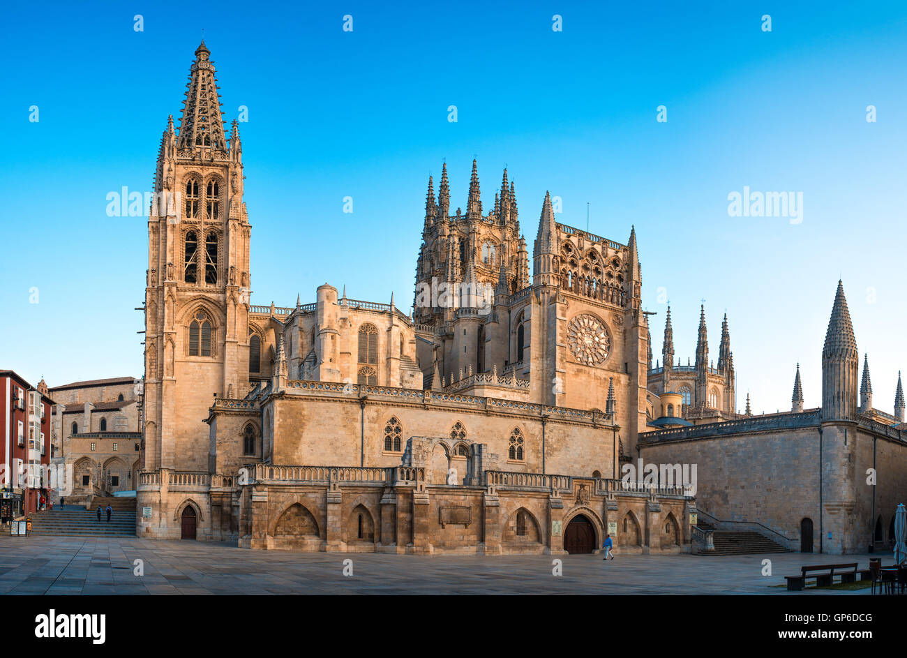 BURGOS, SPAIN - 1 SEPTEMBER, 2016: View of the Cathedral at sunrise. Construction on Burgos' Gothic Cathedral - Stock Image
