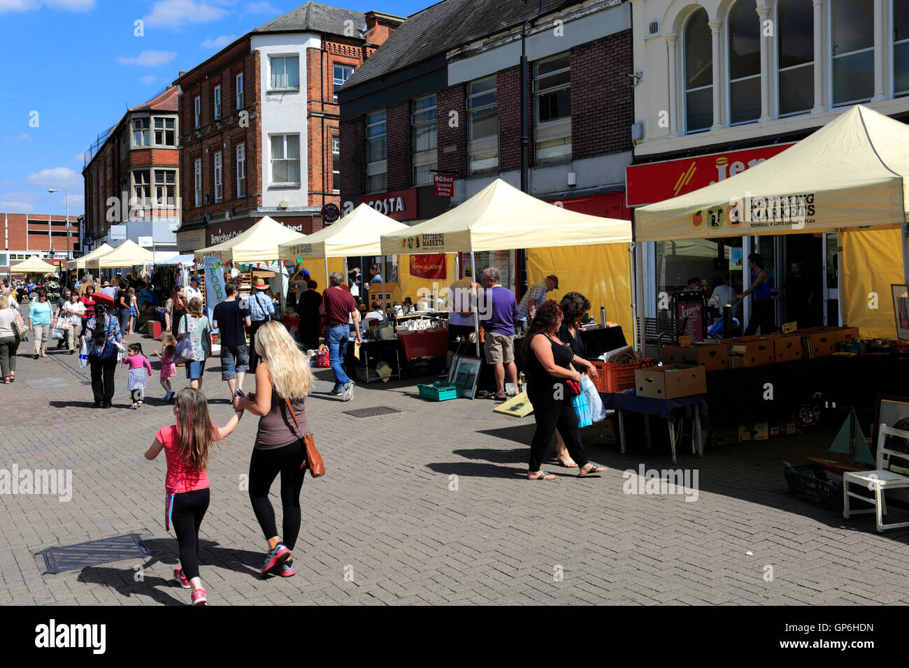 Street view of Kettering town, Northamptonshire County, England; Britain; UK - Stock Image