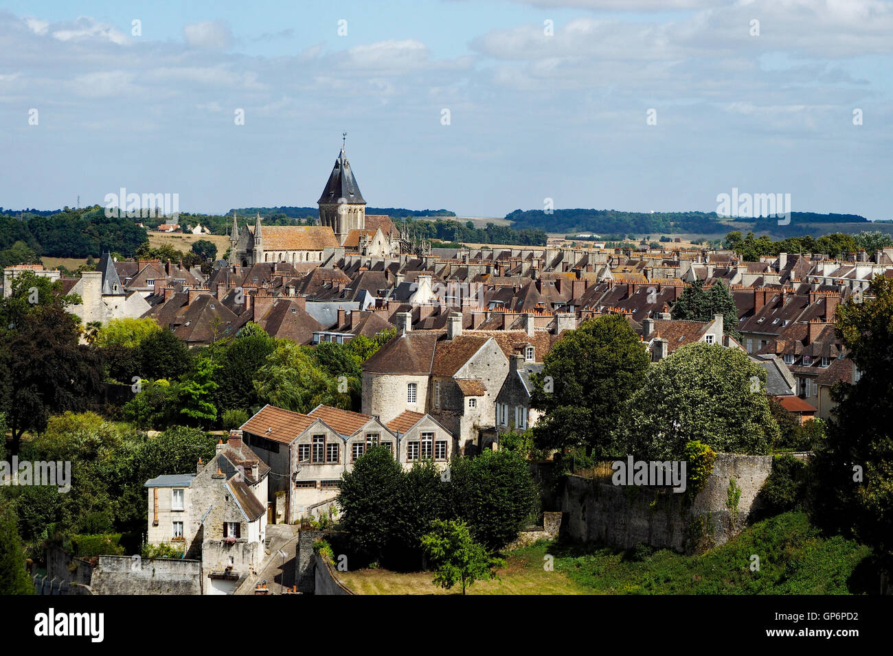 Looking across Falaise town from the keep of Château de Guillaume le Conquérant (William the Conqueror's Castle), Stock Photo