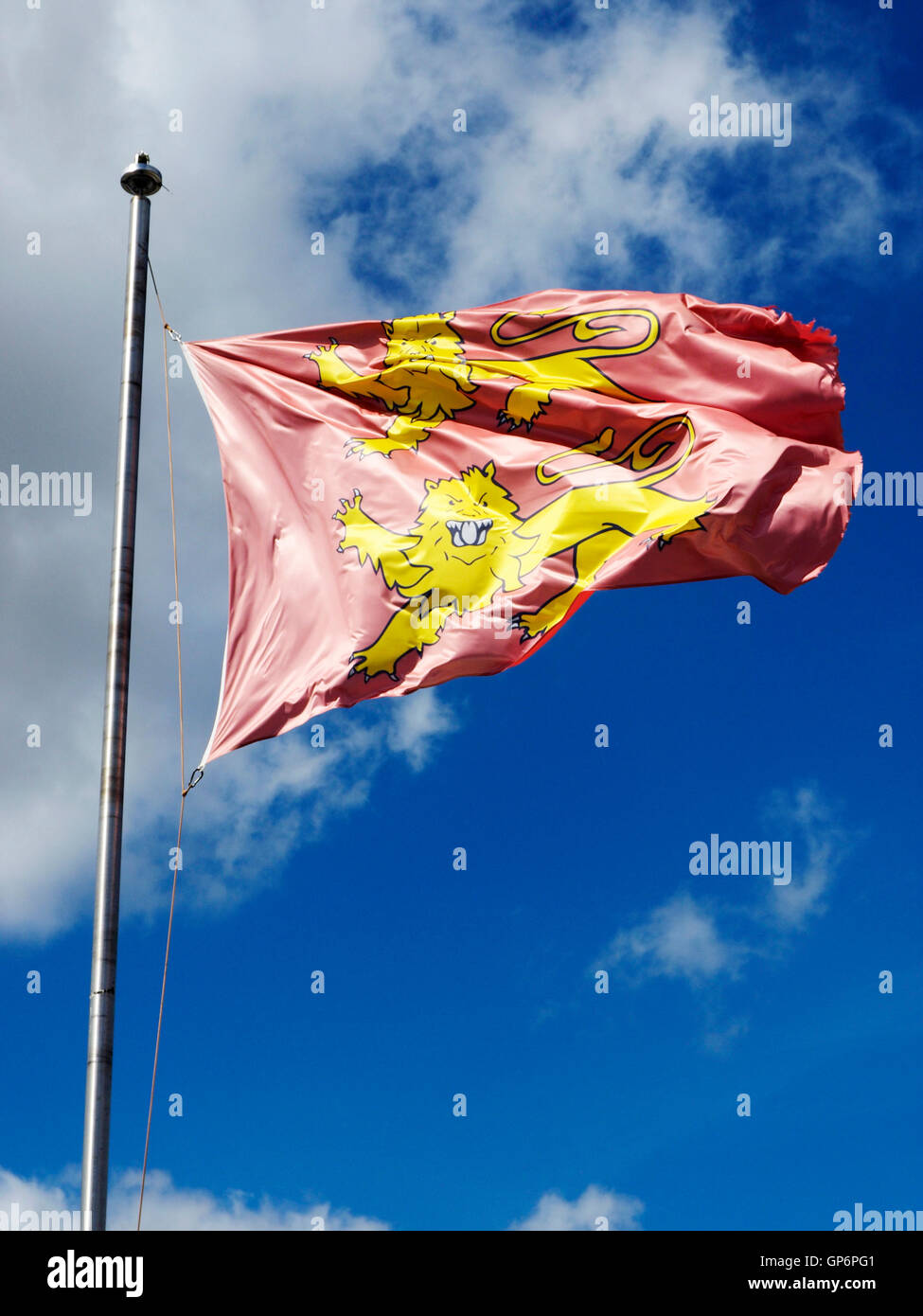 The flag of Normandy, (Normandie) a region of northern France. Drapeau du Normandie Stock Photo
