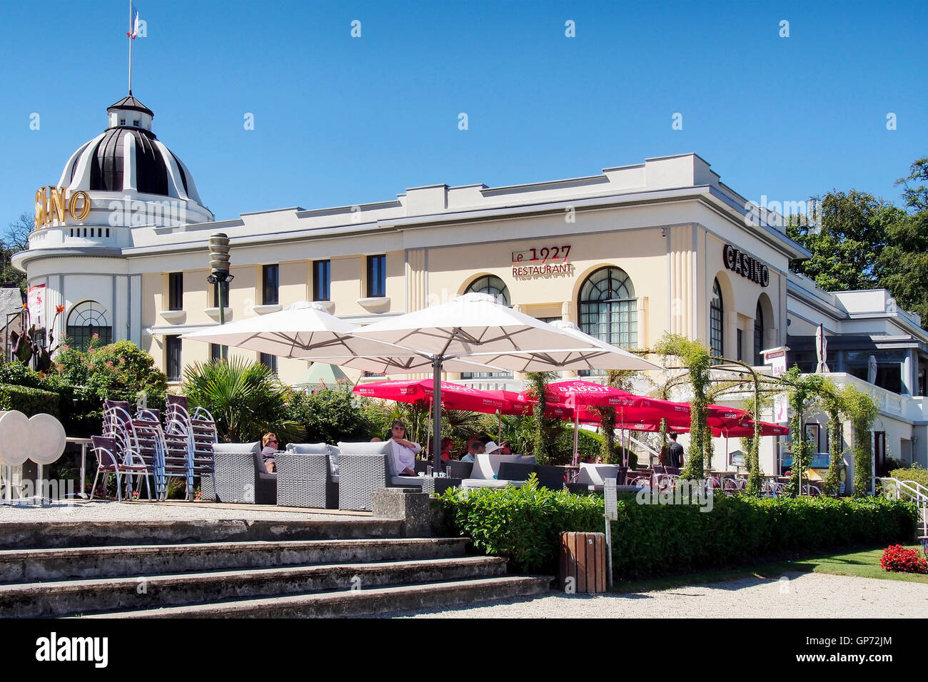 The Casino and Casino Gardens in Bagnoles de L'orne an old spa resort in Normandy, France late summer 2016. Stock Photo