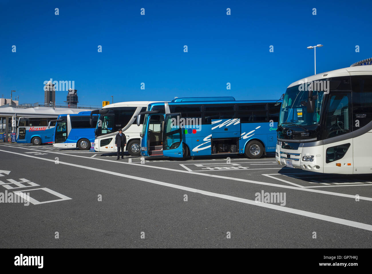 Buses parked at narita international airport, japan - Stock Image