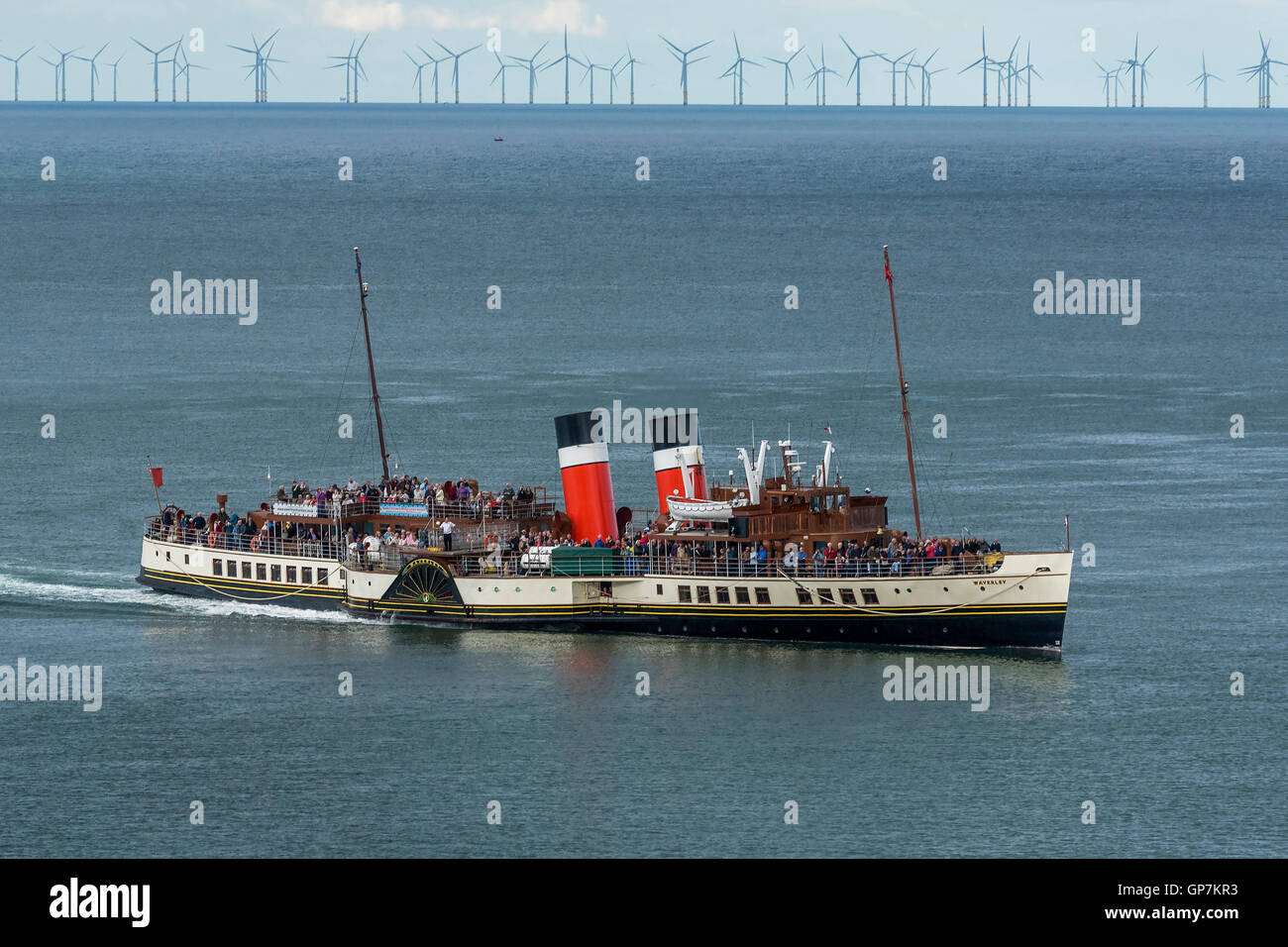 World's last seagoing paddle steamer the Waverley in Llandudno. Clwyd North Wales. - Stock Image