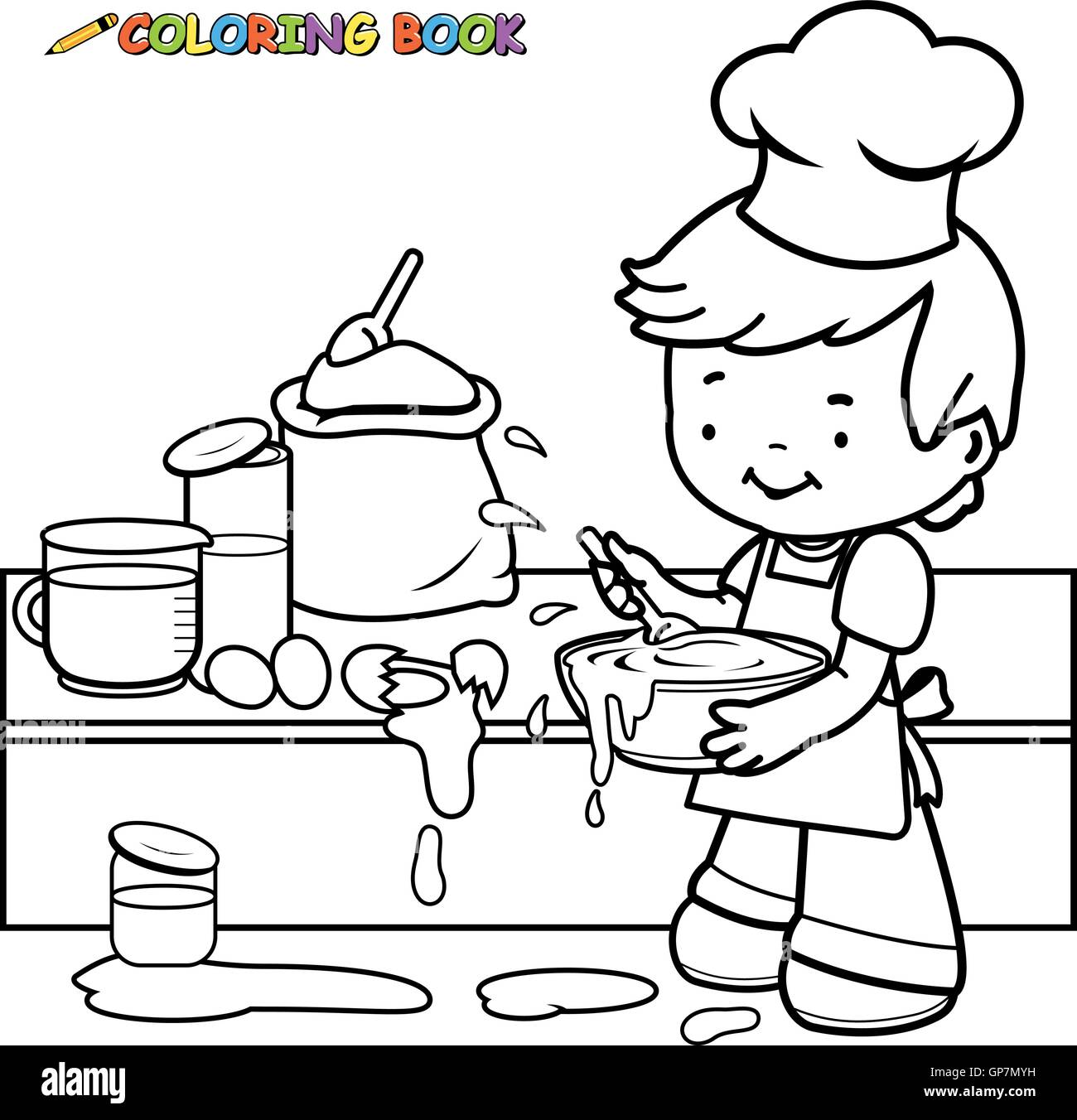 Little boy cooking and making a mess coloring book page Stock Vector ...