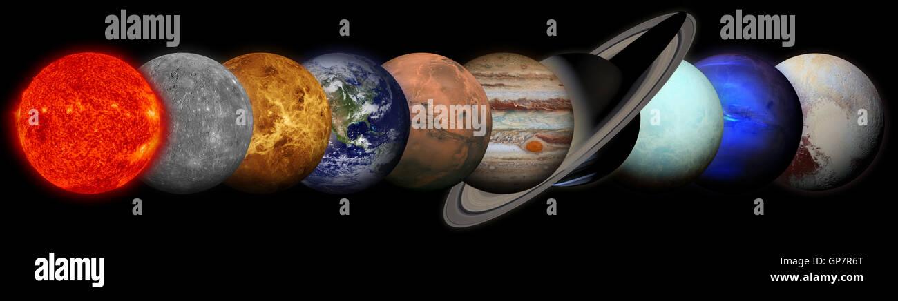 Solar system. Planets on black background. Sun, Mercury, Venus, Earth, Mars, Jupiter, Saturn, Uranus, Neptune, Pluto. Elements o