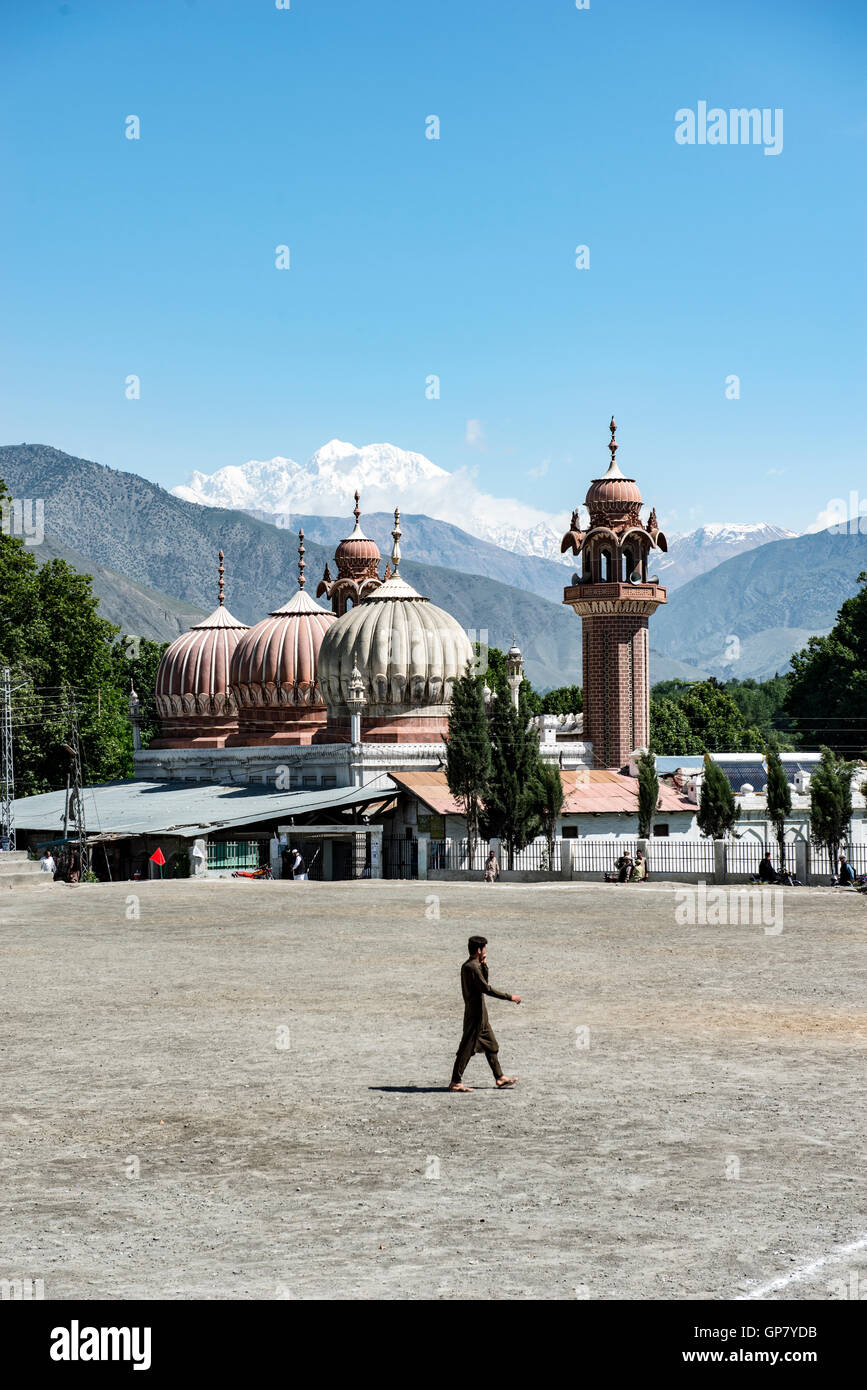 Shahi Masjid Chitral, built in 1924 by Shujah ul Mulk , then the Mehta of Chitral and Chitral football ground in - Stock Image