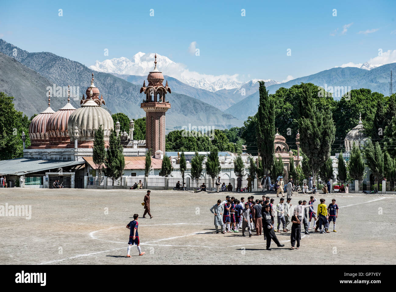 Shahi Masjid Chitral, built in 1924 by Shujah ul Mulk , then the Mehta of Chitral and Chitral football ground in Stock Photo