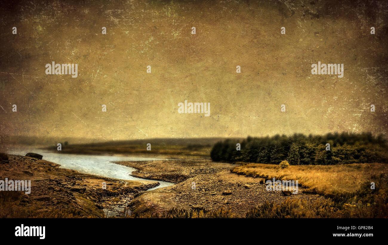 beautiful moody lake landscape - Stock Image